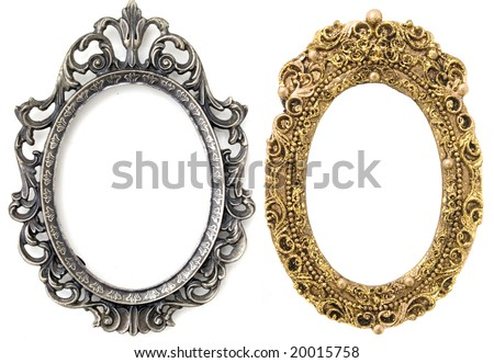 gold and silver oval frames - stock photo