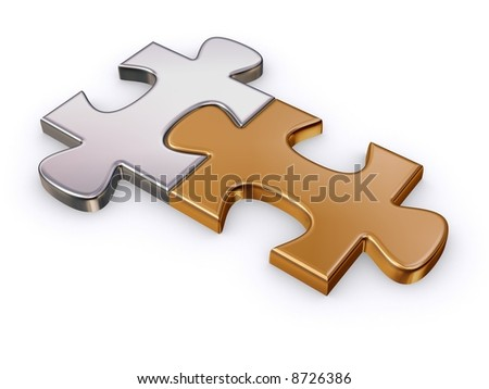 gold and silver puzzle pieces - stock photo