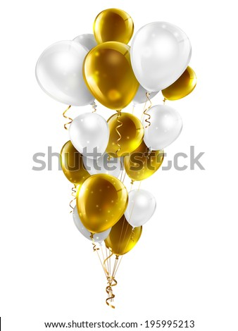 gold and white balloons on a white background - stock photo