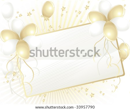 Gold and white balloons with space for text - stock photo