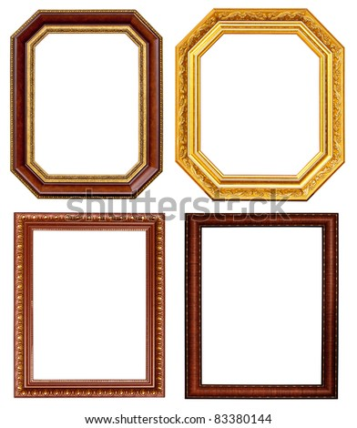 Gold and wood frame Collection on white background - stock photo