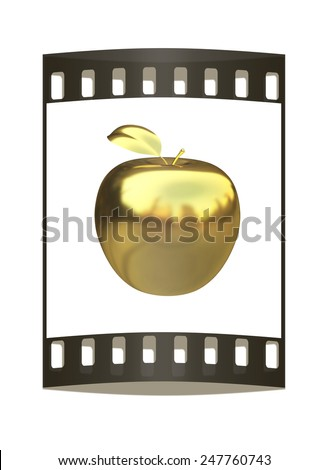 Gold apple isolated on white background. The film strip - stock photo