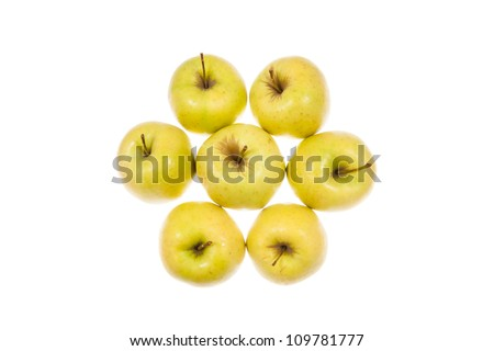 Gold apples isolated on white background - stock photo