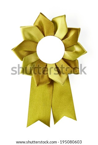 gold award rosette on a white background - stock photo