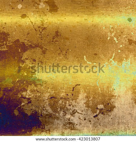 gold background texture, old brass metal wall grunge background - stock photo