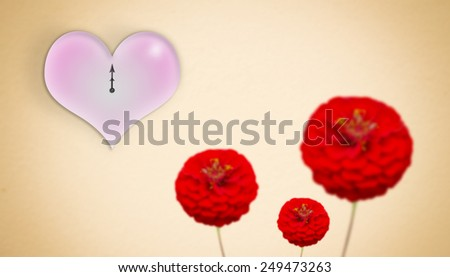 Gold background With red flowers And clock on Valentine's Day. - stock photo