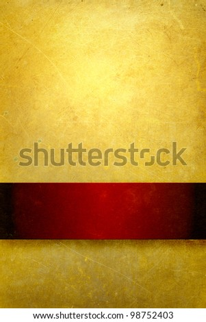 gold background with rich red ribbon - stock photo