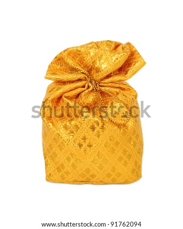 Gold bag in white background. - stock photo