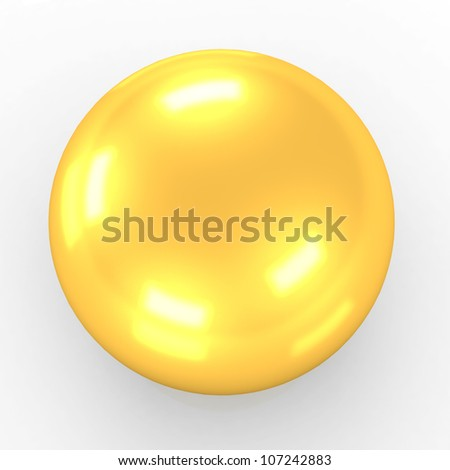 Gold Ball 3d render - stock photo
