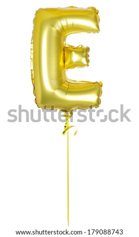 Gold balloon font part of full set upper case letters E with ribbon - stock photo
