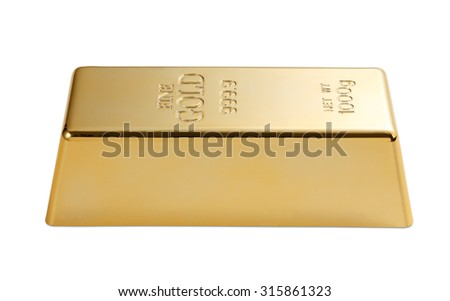 Gold bar isolated with clipping path - stock photo