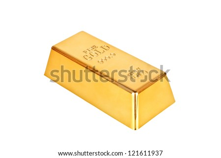 Gold bar on a white background - stock photo