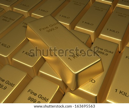 Gold Bar on top of Bed of Gold Bars a goldbar sits on top of neatly arranged bars of 1 Kilo fine gold bars. 3D rendered. - stock photo
