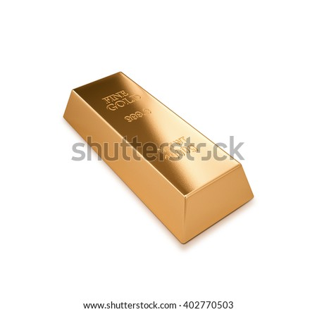 Gold bar series , Financial concept , isolated on white , 3d render - stock photo