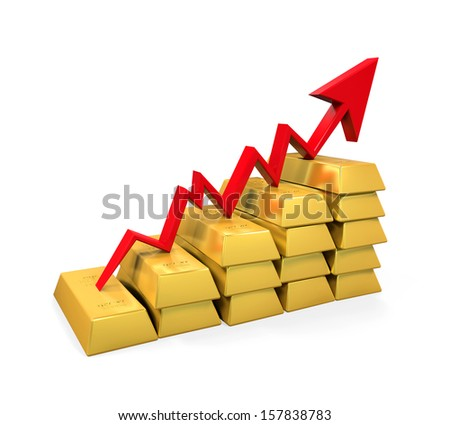 Gold Bar with Red Arrow - stock photo