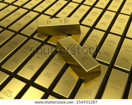 Gold bars. American Gold reserves concept.  - stock photo