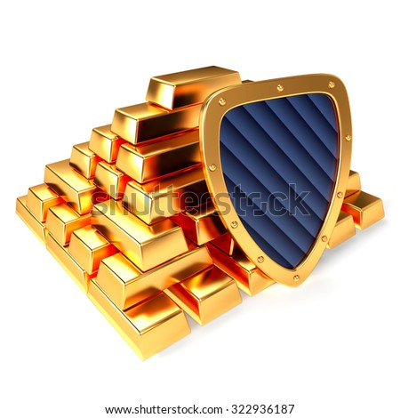 Gold bars and gold shield, 3D illustration - stock photo