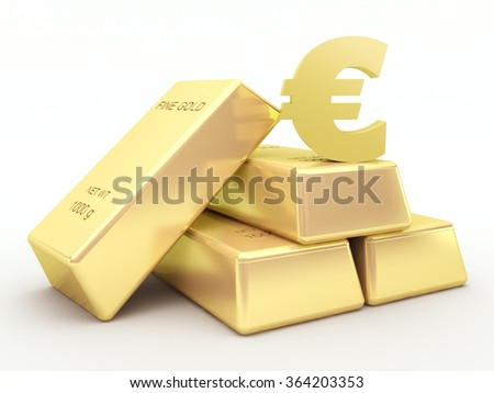 Gold bars and golden euro symbol - stock photo