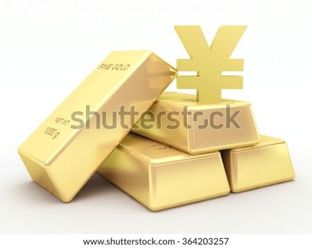 Gold bars and golden yen symbol - stock photo
