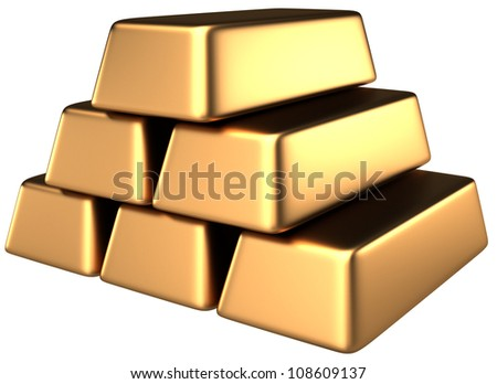 Gold bars 3d white background - stock photo