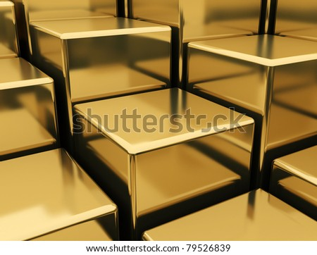 Gold Bars golden background - stock photo