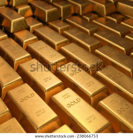 Gold Bars 1000 grams. Depth of field on the gold word. - stock photo