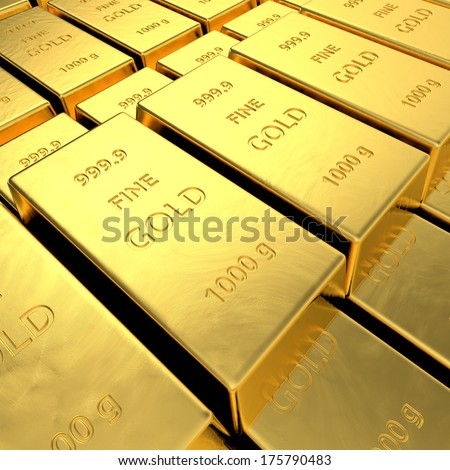 Gold bars. High resolution 3D rendering. - stock photo