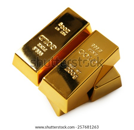 Gold bars isolated on white - stock photo