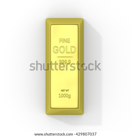 Gold bars isolated on white background. 3d illustration - stock photo