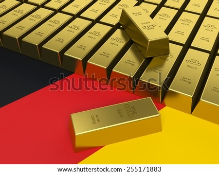 Gold bars on top of Germany flag white background. Gold reserves concept. - stock photo