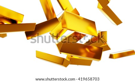 Gold bars or bullions flow isolated on white. Wealth and success 3d render - stock photo