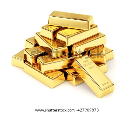 Gold bars pile isolated on white background. Financial success, business investment and wealth concept. 3D illustration - stock photo