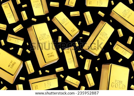 Gold bars rain on black background - stock photo