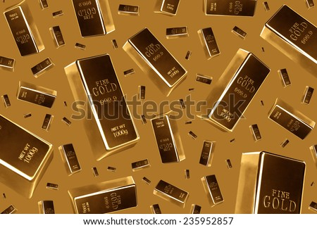 Gold bars rain on brown background  - stock photo