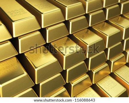 Gold Bars render (Depth of field) - stock photo