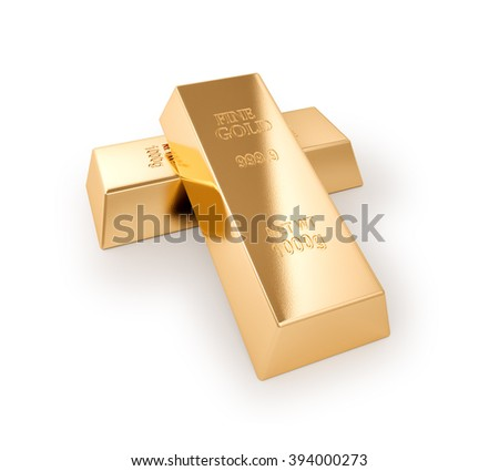 Gold bars series , Financial concept , isolated on white , 3d render - stock photo