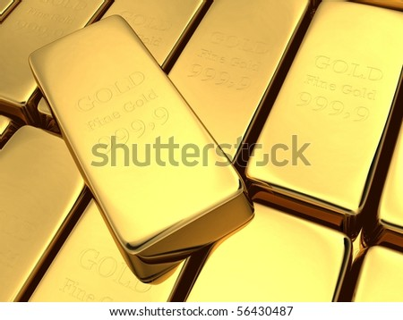 Gold bars stacked on top of each other - stock photo