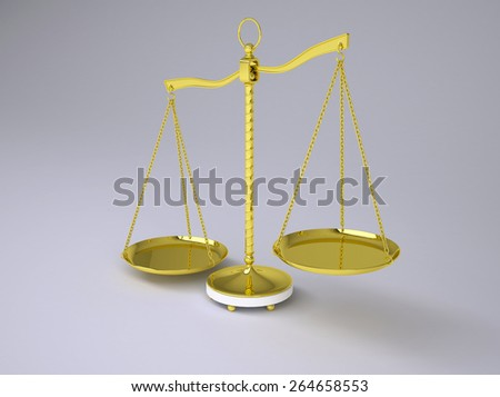 Gold beam balance with shadow. Concept of fair trial. Gray background - stock photo