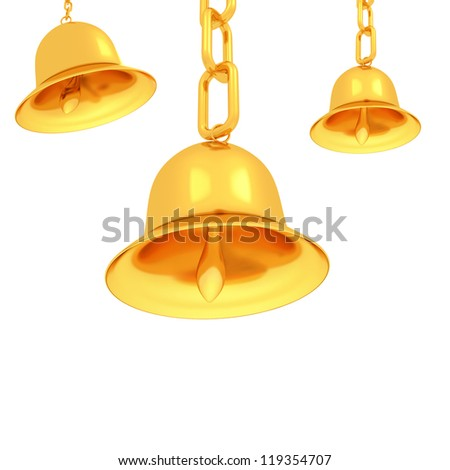 Gold bells on a white background - stock photo
