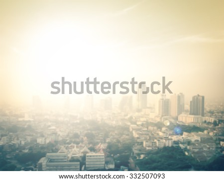 Gold big city concept. Aerial Amazing Beauty Light Hotel Resident Asia Market Glow Sun Hope Nature Brown Industry Sepia Capital Backdrop Economy Horizon Night Research Old Wat Temple Town Abstract. - stock photo