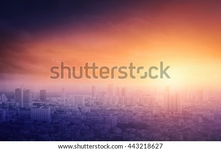 Gold big city concept. Aerial Amazing Beauty Light Hotel Resident Asia Market Town Glow Sun Hope Nature Industry Capital Backdrop Economy Horizon Night Meeting Old Red Magenta Violet Yellow Abstract. - stock photo