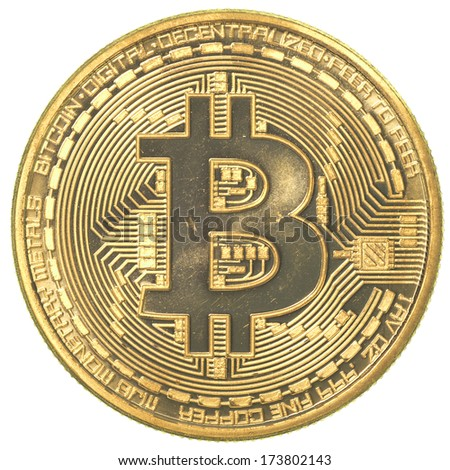 gold bitcoin (physical) isolated on white background - stock photo