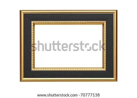 Gold-black frame isolated on white background - stock photo
