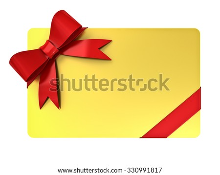 Gold blank gift card with red ribbons and bow isolated over white background - stock photo