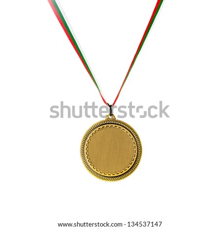 Gold blank medal isolated on white - stock photo