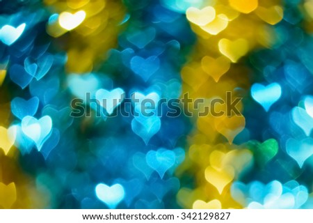 Gold, blue, abstract, heart bokeh background - stock photo