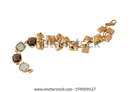 gold bracelet isolated on white - stock photo