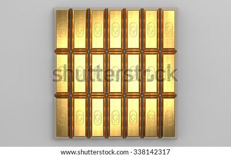 gold brick rows - stock photo