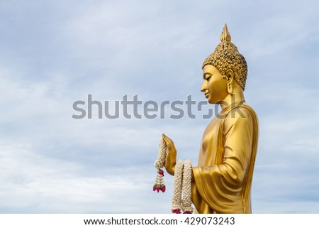 Gold Buddha statue in phutthamonthon temple,public temple in Thailand - stock photo