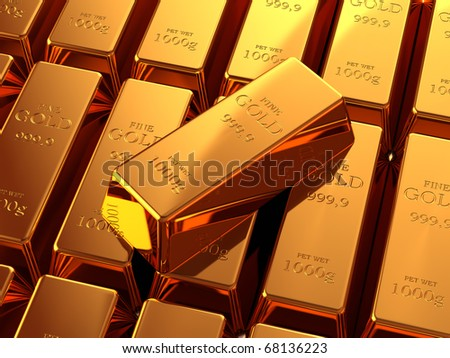 Gold bullion bars stacked on top of each other - stock photo